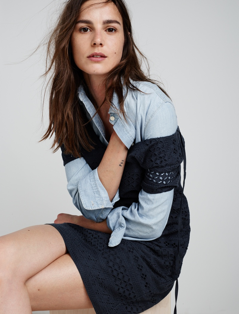 Madewell Embroidered Eyelet Dress and Ex-Boyfriend Shirt