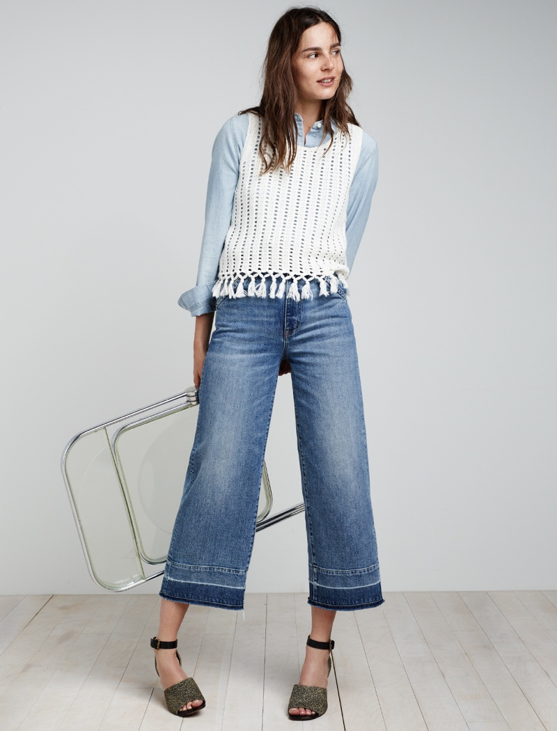 Madewell Wide-Leg Crop Jeans, Fringe Sweater Tank, Chambray Ex-Boyfriend Shirt and Alena Sandal