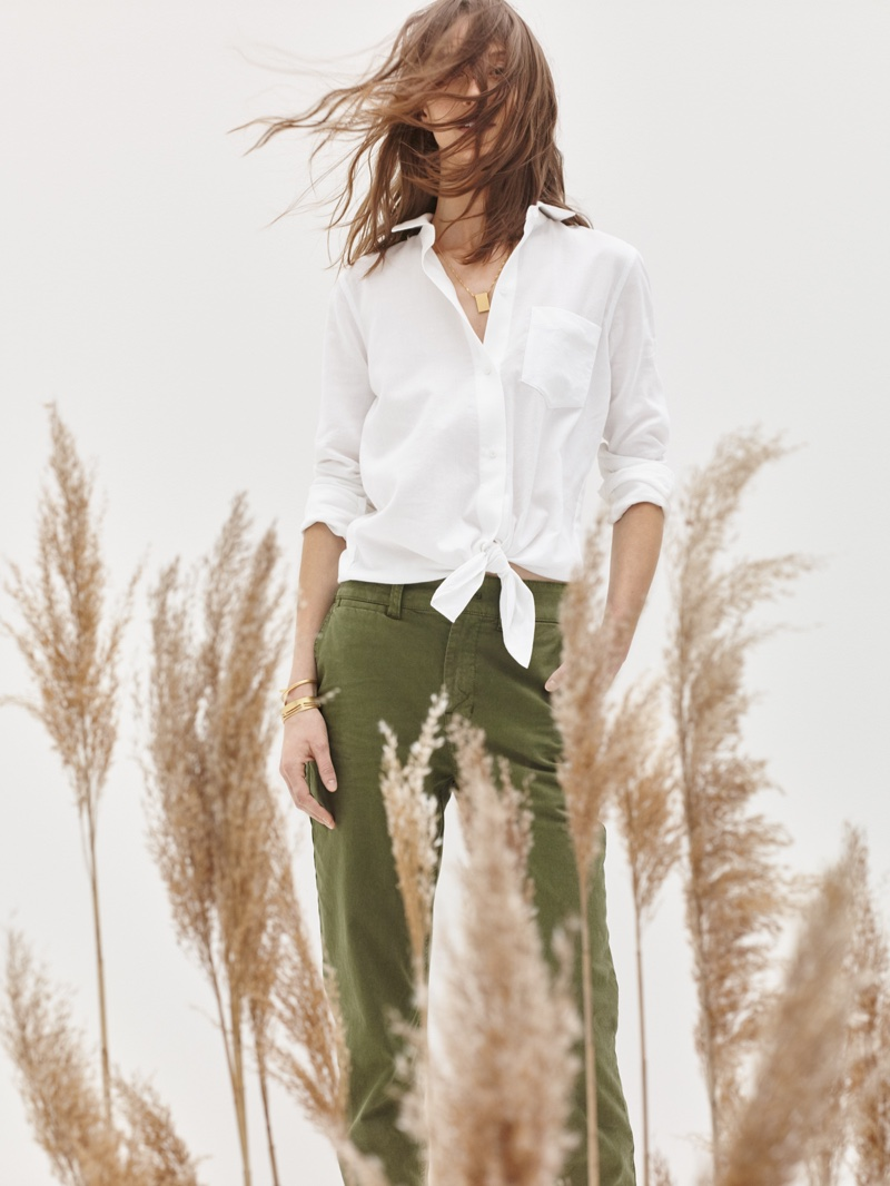 Madewell Tie-Front Shirt, Cruiser Straight Chinos and Dancing Arrow Necklace