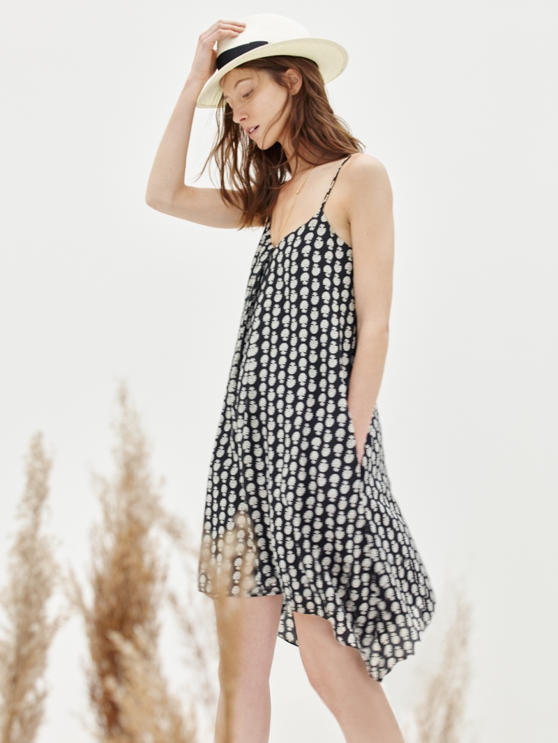 Madewell Silk Trapeze Cami Dress in Bloomstrap and Madewell x Biltmore Hat