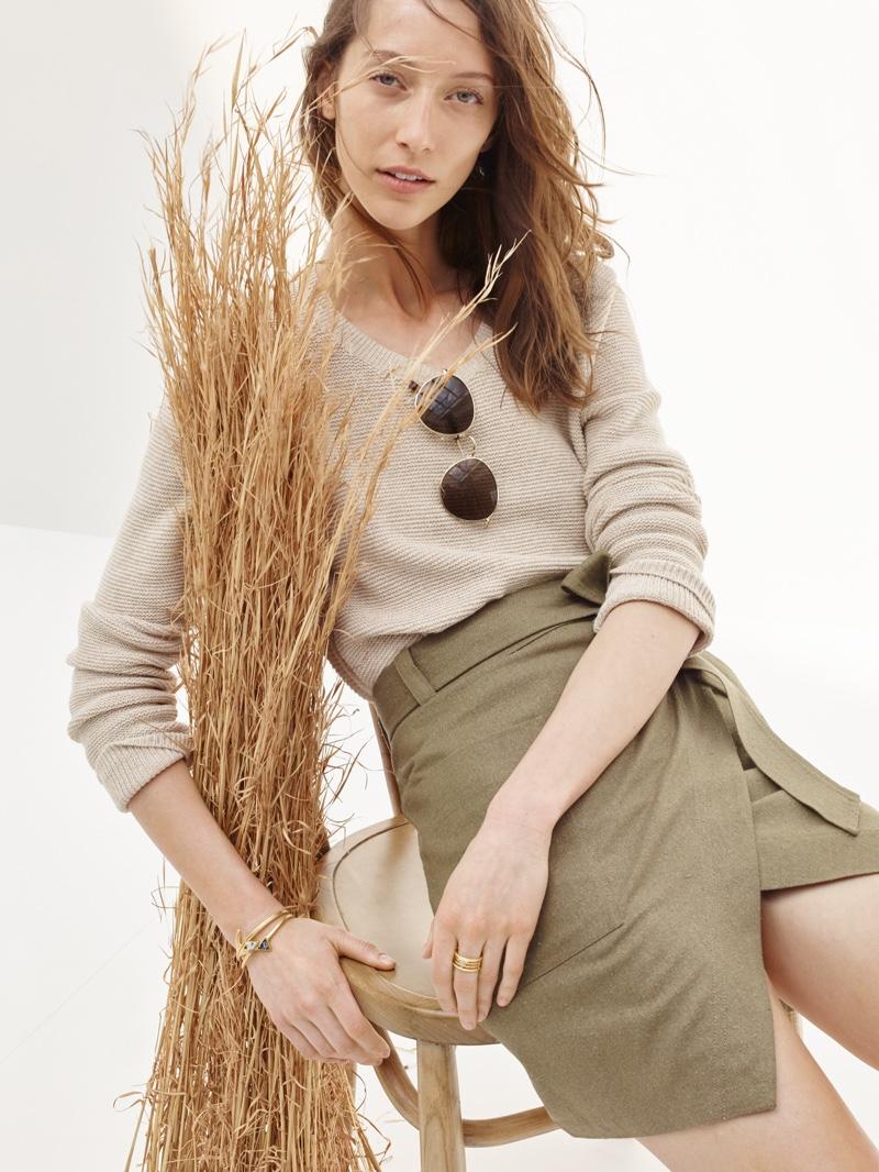 Madewell Riverside Sweater, Portside Skirt and Fest Sunglasses