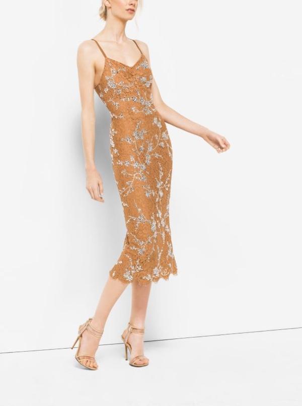 Michael Kors Crystal Embroidered Floral Lace Slip Dress