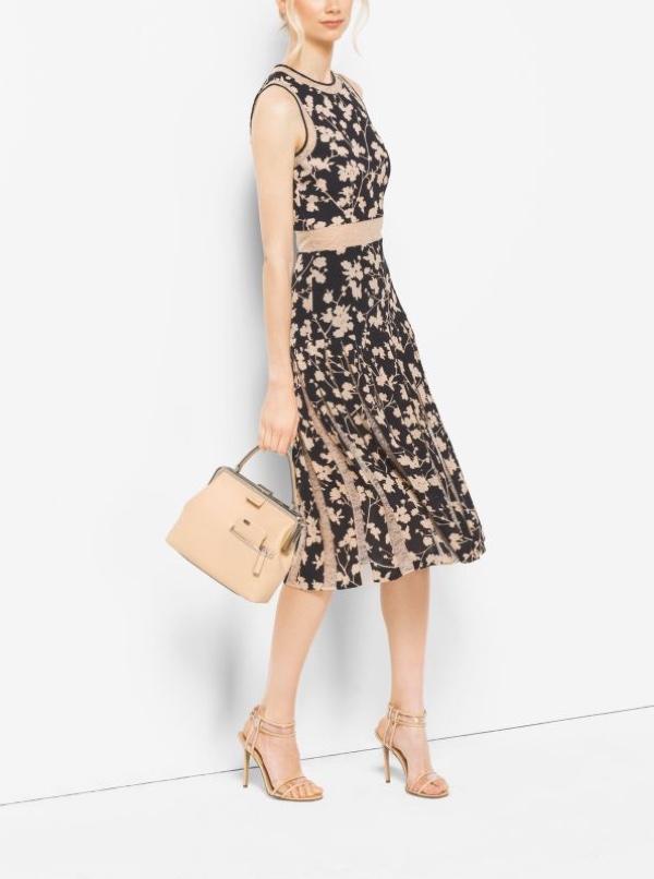 Michael Kors Floral Silk Georgette & Chantilly Lace Dress