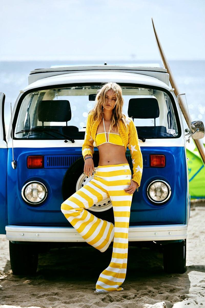 Michalina Glen wears cropped yellow jacket with striped Max Mara pants