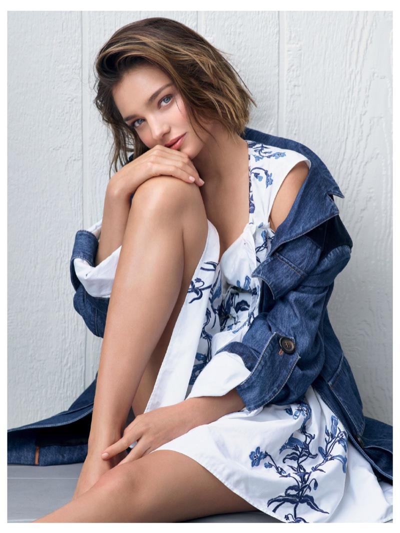 Miranda Kerr keeps it casual in denim jacket and printed dress from Miu Miu