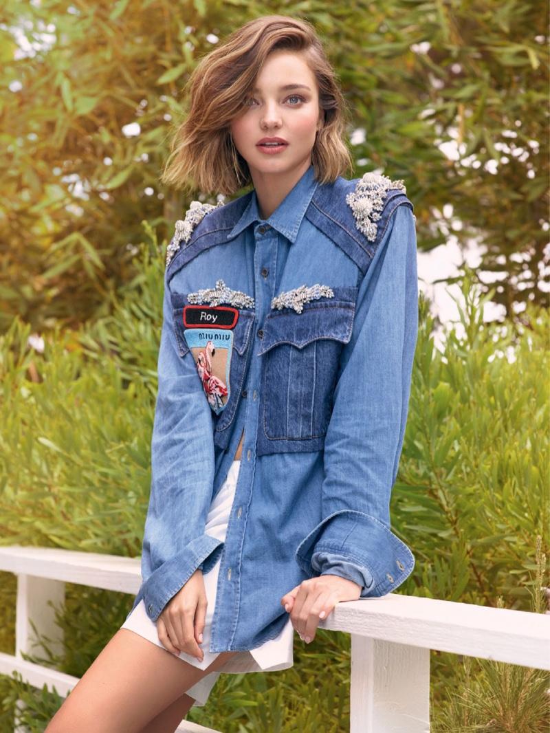 Miranda Kerr wears embroidered denim jacket from Miu Miu
