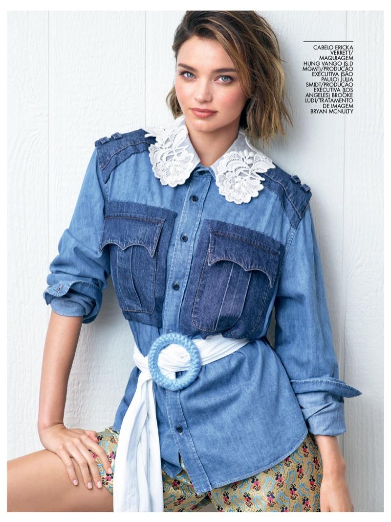Miranda Kerr poses in patchwork denim styles