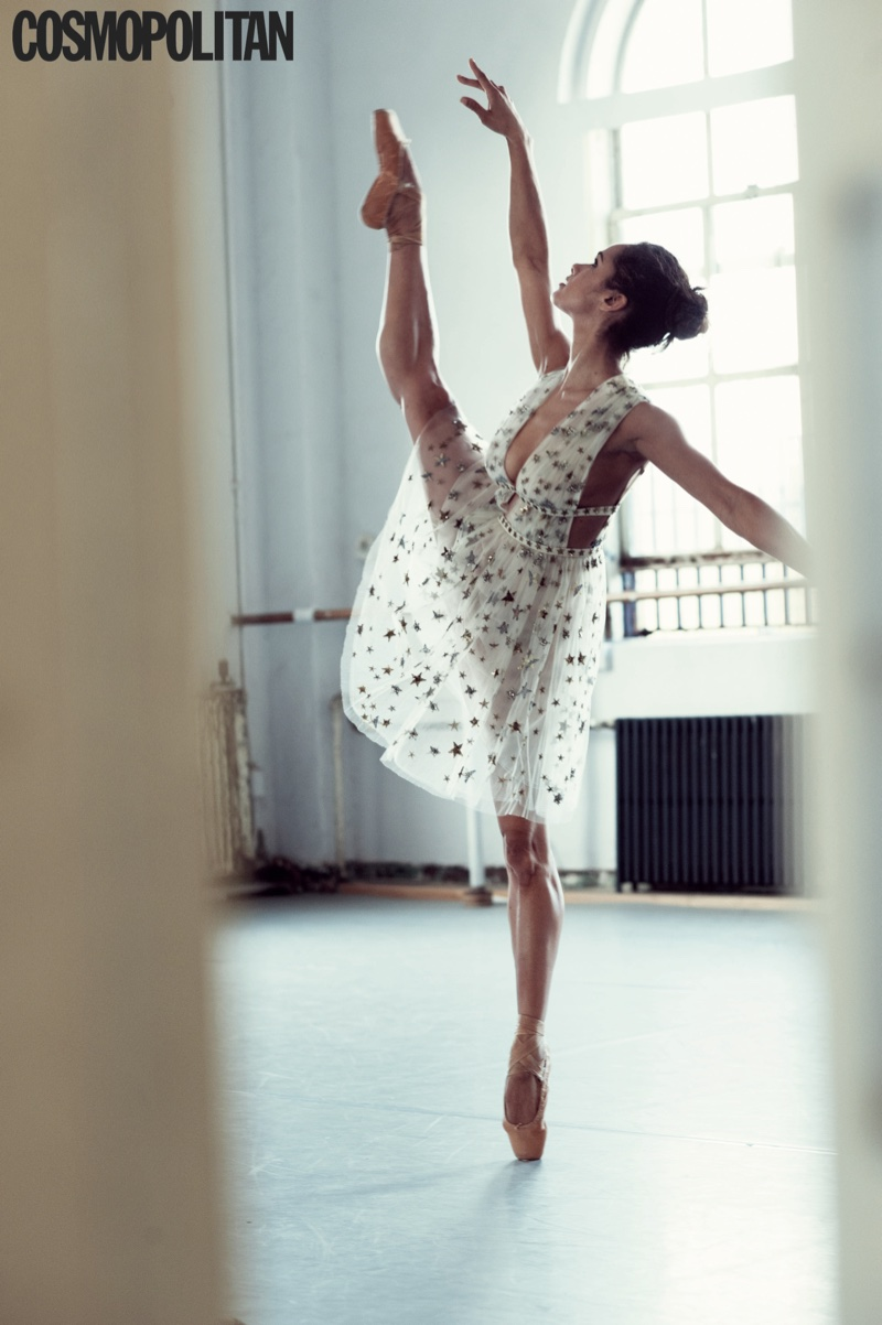 Misty Copeland shows off her technique in an airy dress