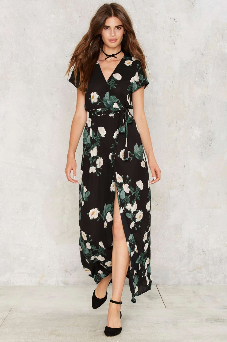Nasty Gal Kiss From a Rose Wrap Dress