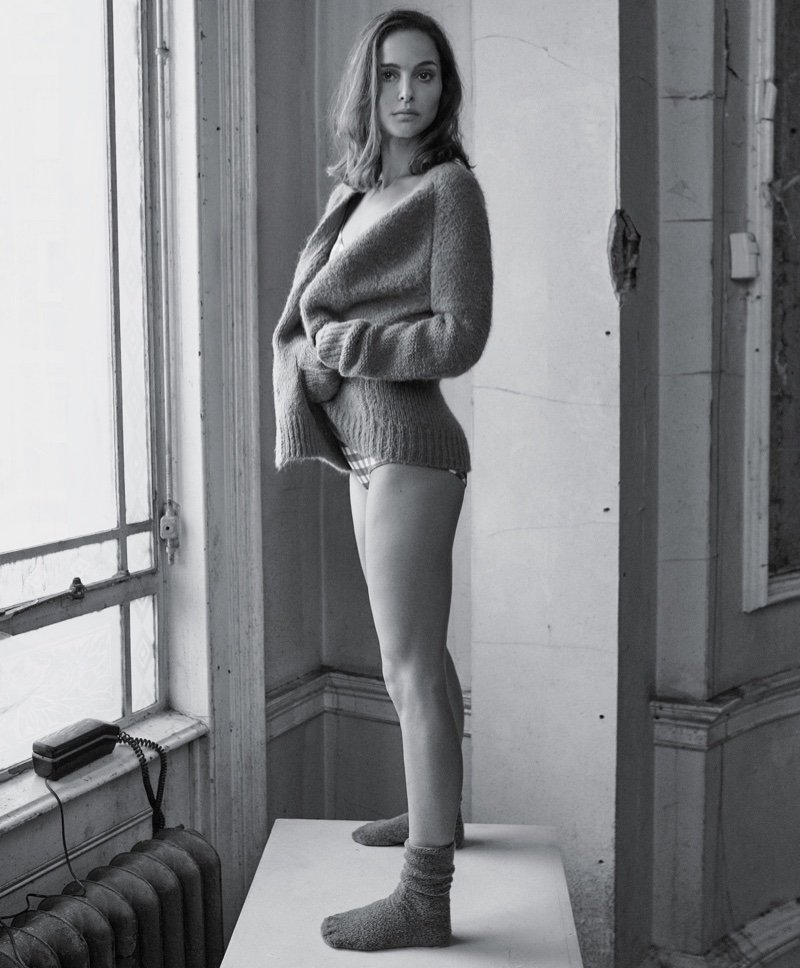 Actress Natalie Portman poses in sweaters for the fashion shoot