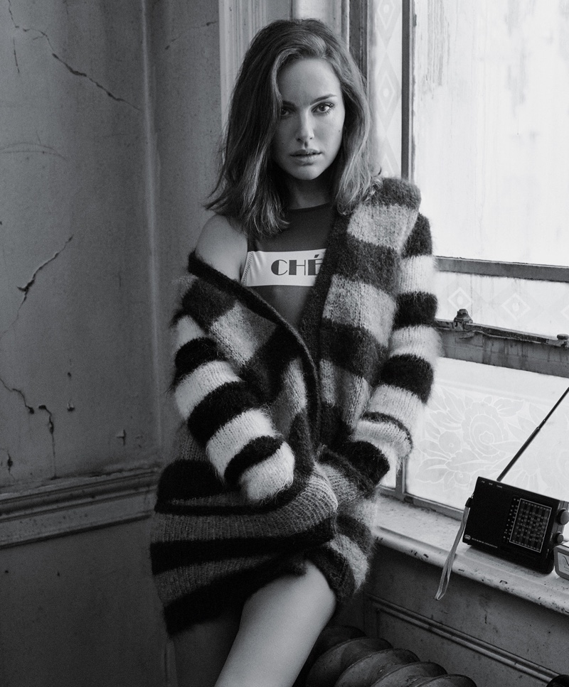 Natalie Portman poses in Max Mara Sweater with Jo de Mer swimsuit