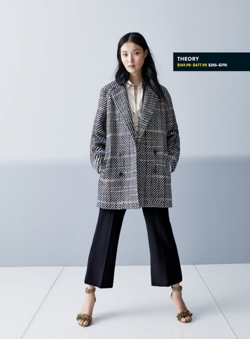 Joie Leather Sandals, Theory Graphic Tweed Coat and Flare Crop Pants.