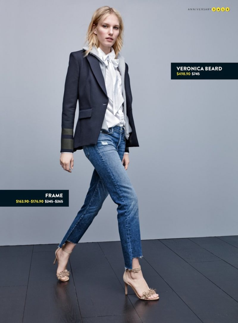 Veronica Beard Cutaway Jacket, Joie Leather Sandals, Frame Removable Tie Blouse and Le High Straight High Rise Staggered Hem Jeans.