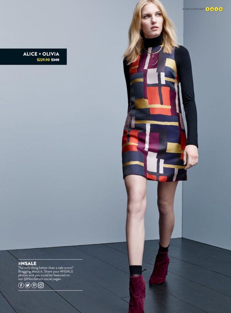 Alice + Olivia Sleeveless A-Line Dress and Stuart Weitzman Bootie