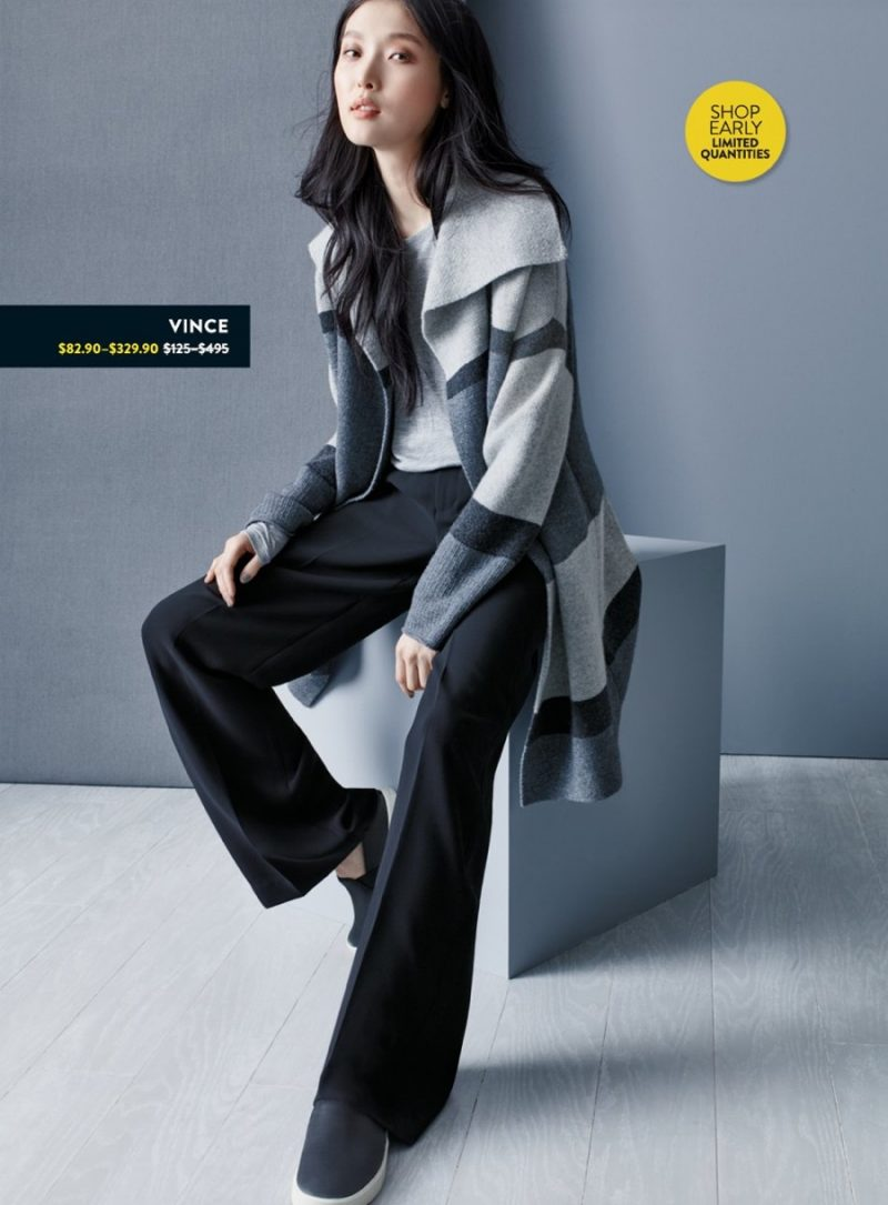 Vince Crewneck, Colorblock Car Coat, Wide Leg Trousers and Slip On Sneakers.