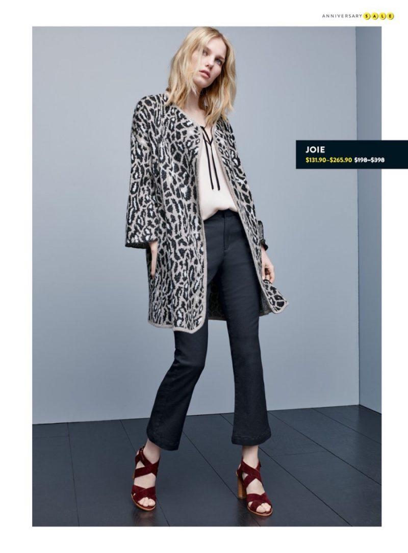 Joie Silk Blouse, Leopard Open Front Sweater, Flare Leg Pants and Block Heel Sandals.