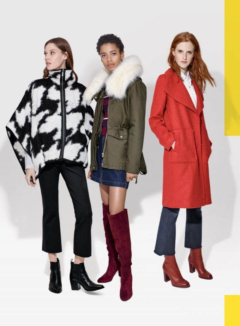 Left to Right: French Connection Poncho, Tahari Hooded Anorak and Bernardo Textured Coat.