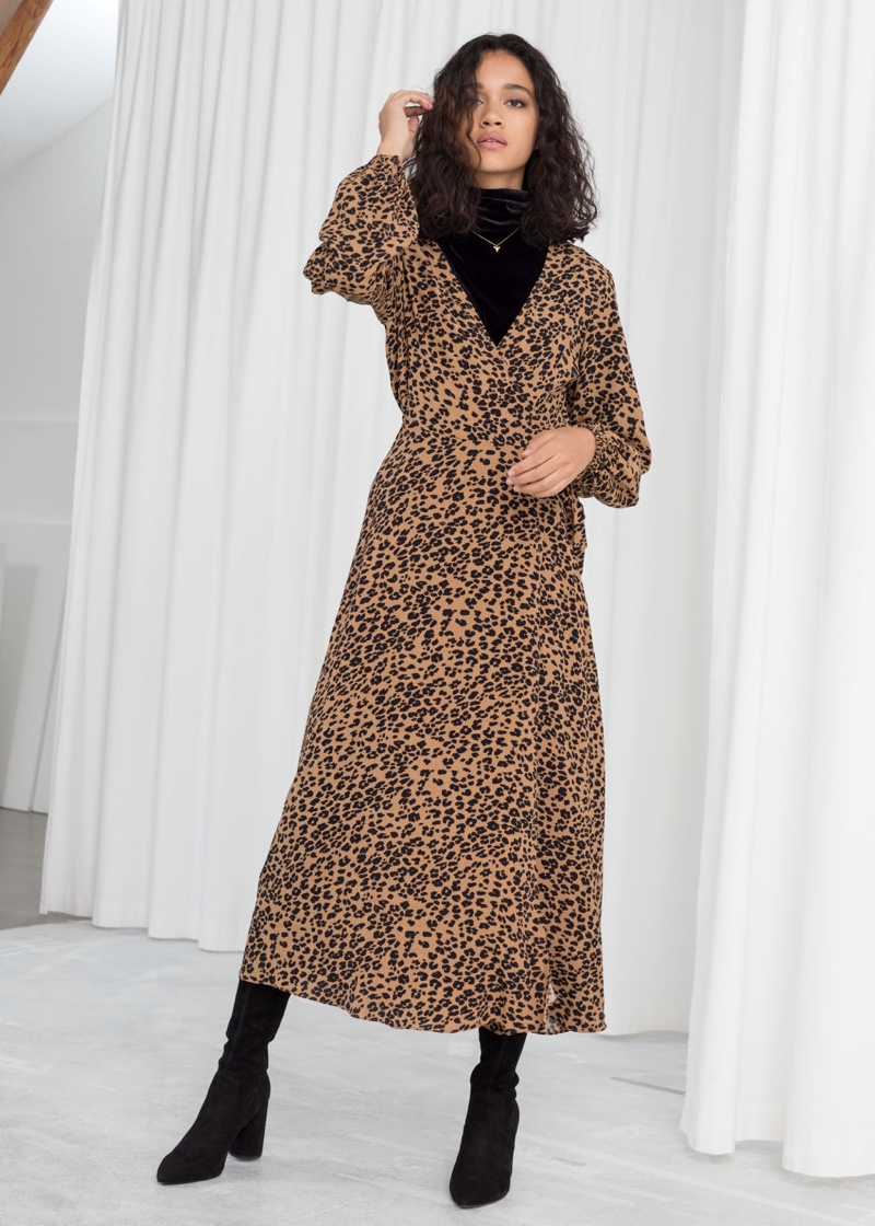 & Other Stories Leopard Print Wrap Dress $119