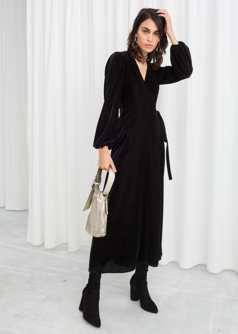 & Other Stories Velvet Midi Wrap Dress in Black $129