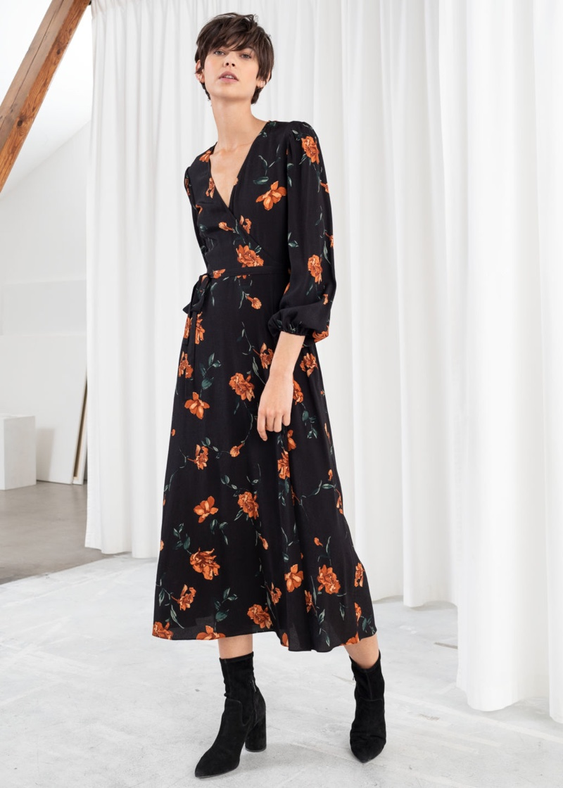& Other Stories Wrap Midi Dress in Floral $119