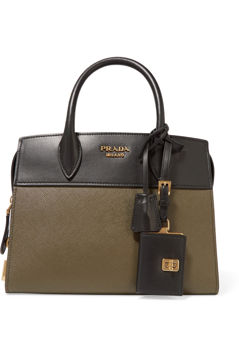 Prada Esplanade Small Two-Tone Textured Leather Tote Bag