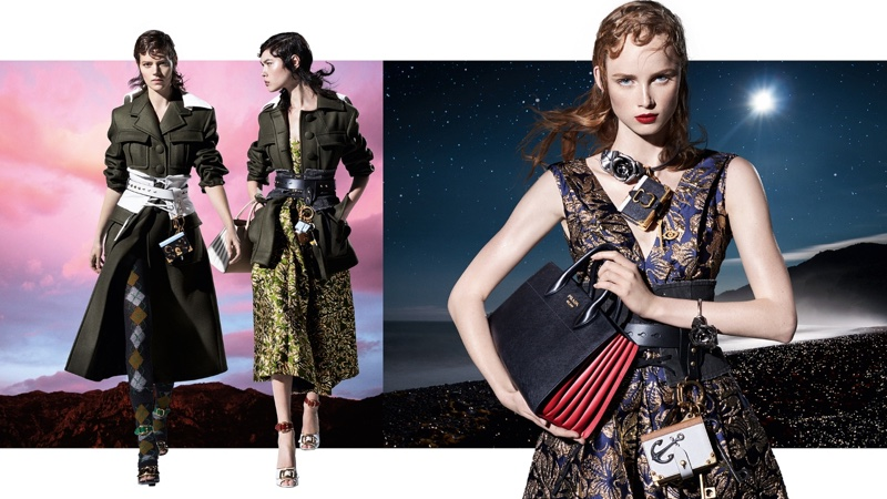 Freja Beha Erichsen, Lorena Maraschi and Rianne van Rompaey star in Prada's fall-winter 2016 campaign