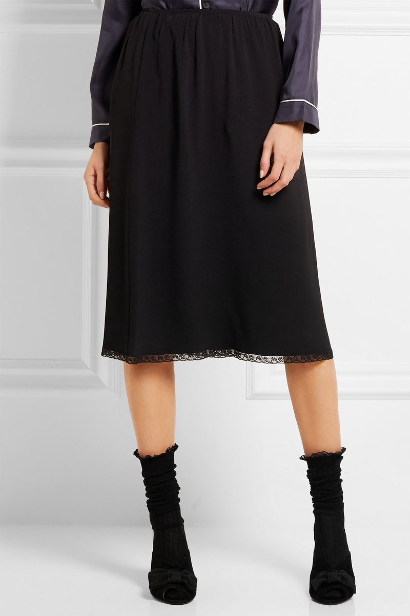 Prada Lace-Trimmed Crepe Midi Skirt