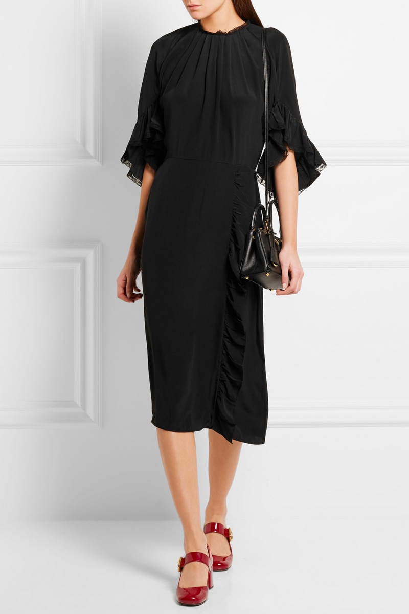 Prada Ruffled Lace-Trimmed Silk Crepe de Chine Dress