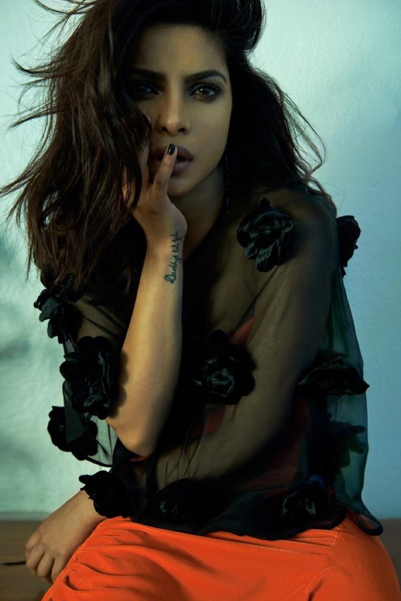 Priyanka Chopra poses in Jill Stuart blouse over Preen by Thornton Bregazzi dress