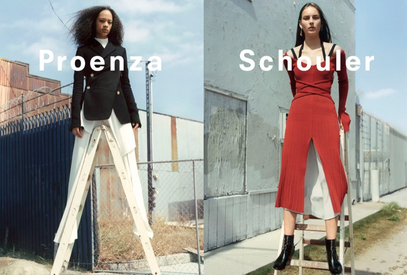Models pose on ladders for Proenza Schouler's fall-winter 2016 campaign