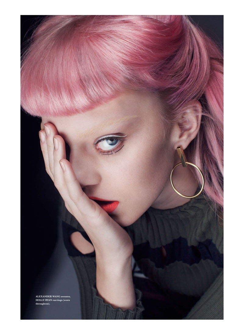 Photographed by Thom Kerr, the pink-haired model poses for Tangent