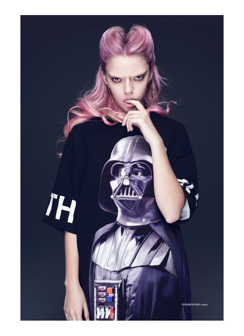 Pyper America models Darth Vader t-shirt by Undercover