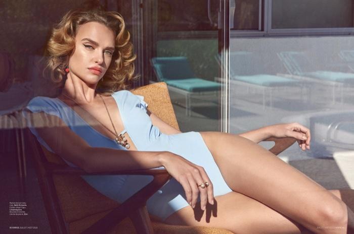 Masha Rudenko models one-piece Beth Richards swimsuit with sparkling jewelry