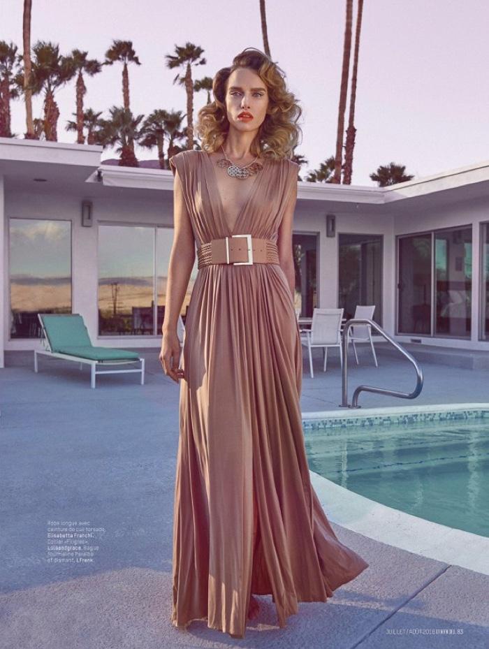 Masha Rudenko models Elisabetta Franchi pleated maxi dress