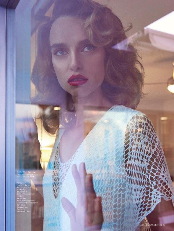 Masha Rudenko models Mulberry top with Pinko jewelry
