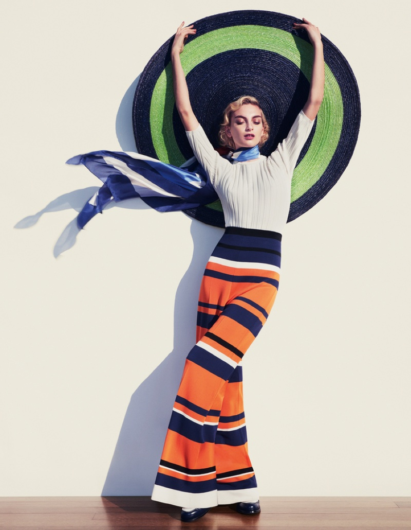 Rose Smith models Sportmax top and trousers with Harvy Santos straw hat