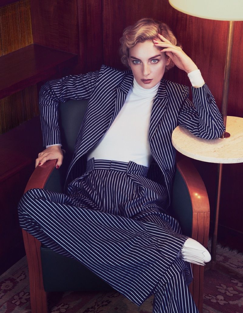 Rose Smith suits up in Tod's striped blazer and trousers with Wolford bodysuit