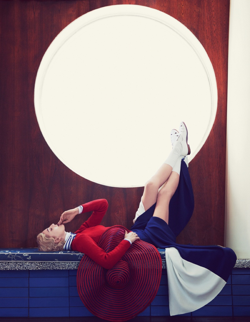 The model poses in nautical inspired fashions