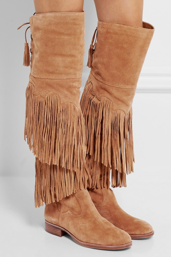 Sam Edelman Jericho Fringed Suede Over-the-Knee Boots