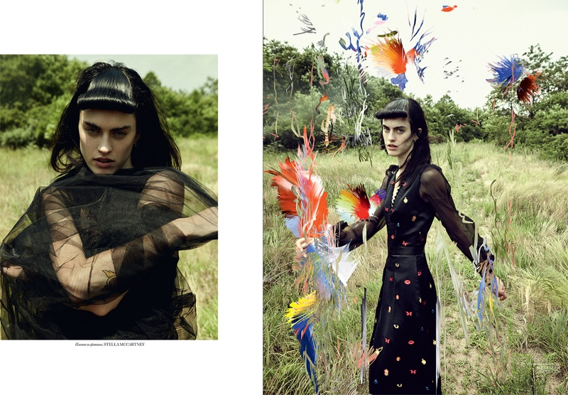 (Left) Sarah models gauzy Stella McCartney top (Right) Sarah wears Alexander McQueen long-sleeve dress