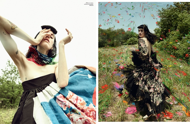 (Left) Sarah poses in embroidered Prada skirt (Right) Sarah models Roberto Cavalli gown