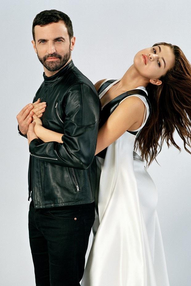 Louis Vuitton artistic director Nicolas Ghesquière and Selena Gomez pose for a photoshoot