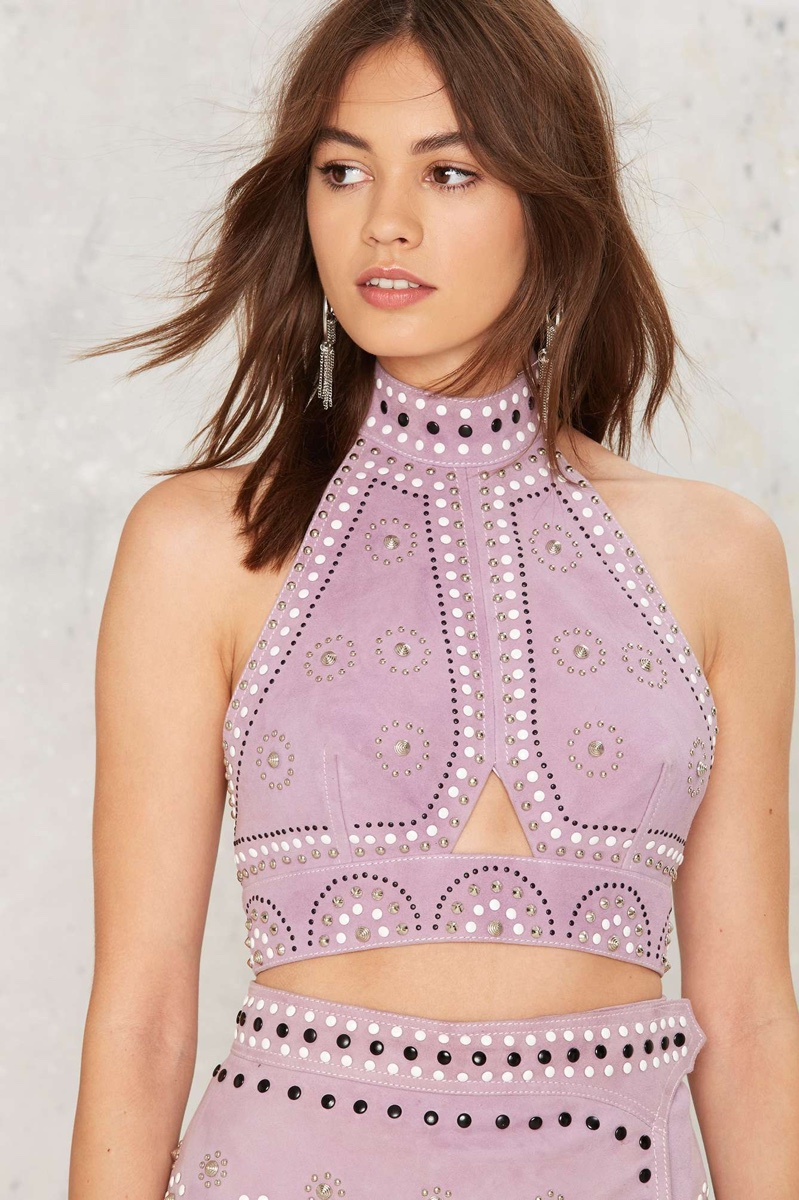 Nasty Gal Sisters of the Moon Embellished Suede Halter Top