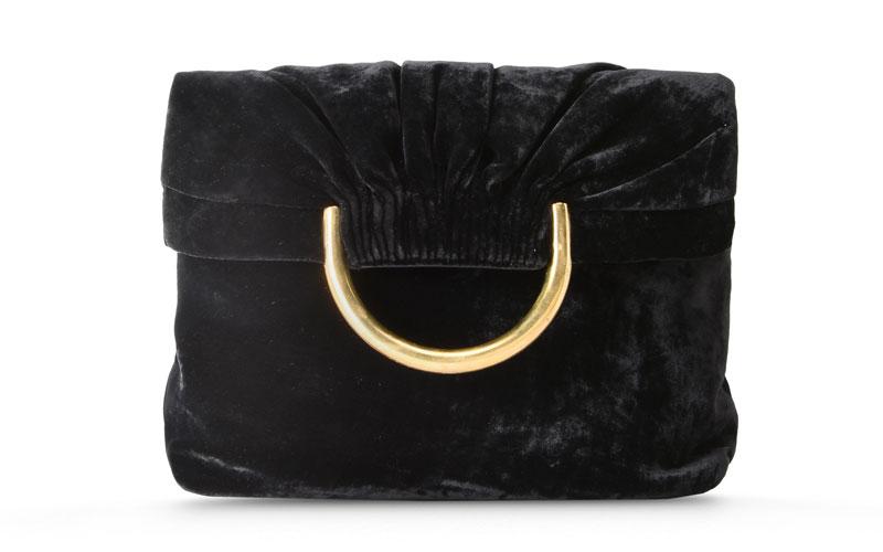 Stella McCartney Black Nina Velvet Shoulder Bag