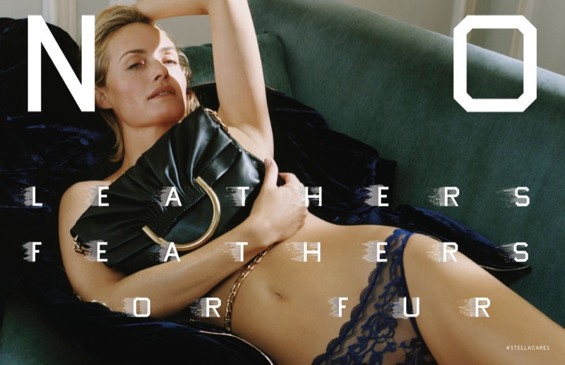 Amber Valletta lounges in lace underwear and clutch bag in Stella McCartney's fall 2016 advertising campaign