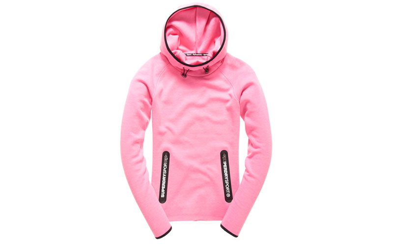 Superdry Gym Tech Cowl Hood in Neon Pink