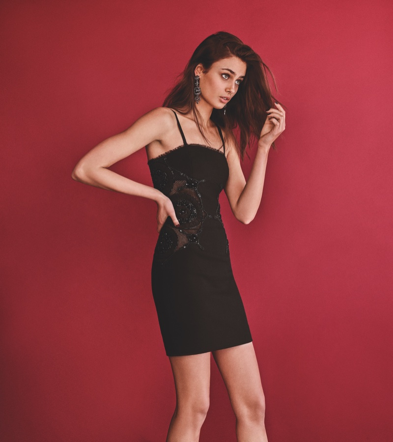 Taylor Hill wears a little black dress in Topshop's fall 2016 campaign