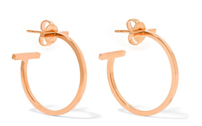 Tiffany & Co T-Wire 18-Karat Rose Gold Hoop Earrings