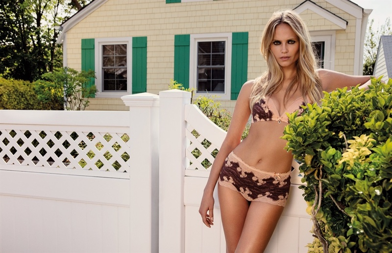 Natasha Poly wears lingerie pieces in Twin-Set's fall 2016 advertising campaign