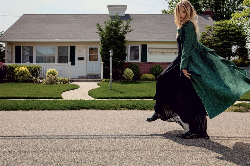 Natasha Poly models green coat and black dress in Twin-Set's fall 2016 campaign